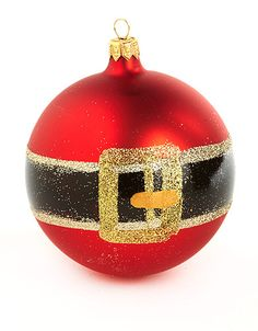 santas belt glass ball ornament