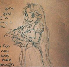 A Rapunzel sketch in a letter to my little cousin :)