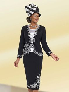 Ben Marc 48030 Womens Three Piece Church Suit With Swirling Design