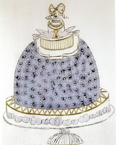 cake by andy warhol (1959)   one of the nineteen drawings created for wild raspberries, a cookbook by suzie frankfurt, illustrated by andy warhol