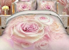 Queen King size for bedding sets hot sales bedding set in rose design cotton fabric bed sheets Pink Bedding Set, 3d Bedding Sets, King Size Bedding Sets, Matching Bedding And Curtains, Luxury Bedding Sets, Comforter Sets, King Comforter, Cama Floral, Rose Duvet Cover