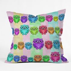 Lisa Argyropoulos Little Hoots Stripes Multicolor Throw Pillow | DENY Designs Home Accessories #pillow #throw #cover #decor #home #kids #cute #cuteness #DENYholiday #shopsmall #DENYdesigns #owls #hoots #multicolor #stripes #bedroom #dorm #fun #colorful #gifts #sale