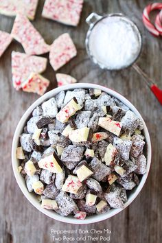 Peppermint Bark Chex Mix Recipe on twopeasandtheirpod.com Love this easy holiday treat! holiday treats