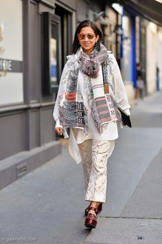Karla Martinez in a fab #Celine scarf at the Comme des Garcons show | Gastro Chic #streetstyle #fashion #scarves