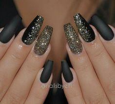 Matte Black Nails and Glitter