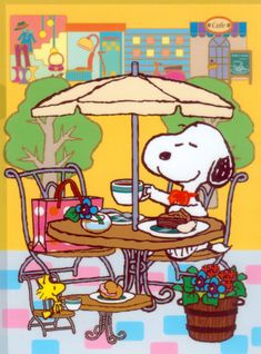 Snoopy Woodstock Cafe restaurante... Imán de por MagnetsbyAbby