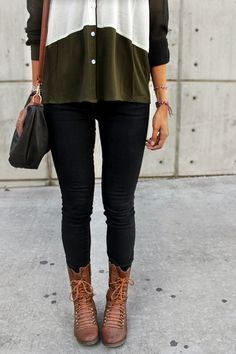 Olive green colored color block top. Very nice w/ a pair of black jeans and some tanish/ brown colored combat boots!