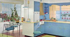 Love those cabinet handles in this 1962 kitchen.