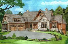The Oak Abbey House Plan - Front Color