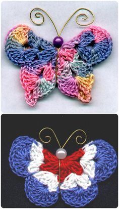 Crochet Mary G's Butterfly Pins with Free Pattern