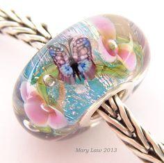 Pandora Bead - Butterfly Dream Garden Glass Murano