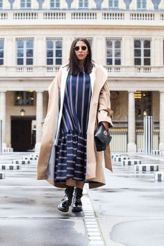 Stripes On Stripes, Trench Coat with Balenciaga combat boots and Mulberry bag - pregnancy style - dress the bump