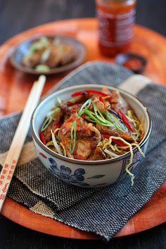 Sweet and Sour Pork Noodles | Easy Asian Recipes http://rasamalaysia.com