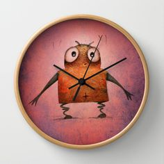Pink Undroid Wall Clock by Paul Stickland for StrangeStore #strangestore #clocks #robots #undroid