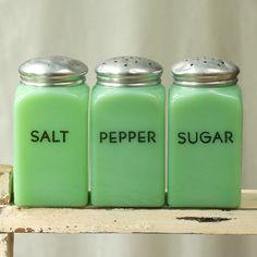 Vintage Jadite or Jadeite Salt Pepper Sugar Shakers by My3Chicks, $125.00