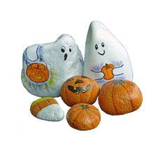 Halloween ghosts and pumpkins painted rocks