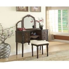 Ashton oak finish wood make up bedroom vanity set. This set features a tri fold mirror with decorative accents, vanity console with 4 drawers and stool. Vanity measures x x H, Mirror measures x H, Stool measures x x H. Bedroom Vanity Set, Vanity Desk, Vanity Set With Mirror, Furniture Vanity, Acme Furniture, Furniture Deals, Vanity Tables, Desk Stool, Wooden Vanity