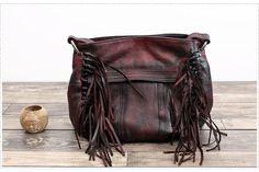 Handmade Full Grain Leather Fringe Messenger Handbag Satchel WF 93 - ArtofLeather