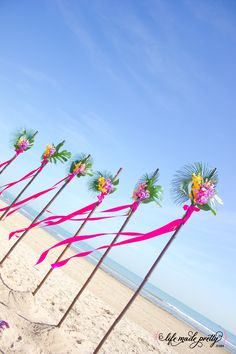 @Carol Van De Maele Twist Bamboo. Beach Decor. Orchids. Tropical Decor.  For more destination wedding tips and concierge planning see www.destinationweddings.travel  Use nature and local ingredients to accessorize your hupa, lanterns, flags, flowers and centerpieces - tips with PJ
