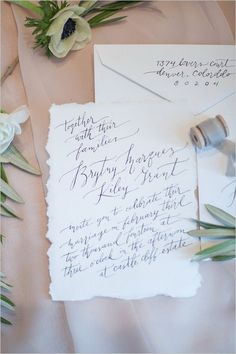 Simple calligraphed wedding invitation. Stationery: Ezer Calligraphy ---> http://www.weddingchicks.com/2014/05/09/magical-winter-wedding-ideas/