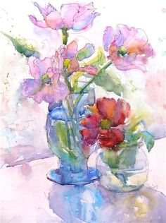 Flowers in 2 vases watercolor painting.