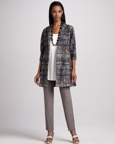 Illusion Jacquard Coat, Silk Jersey Tunic & Silk-Georgette Pants by Eileen Fisher.