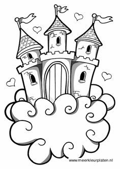 castle in the sky Free Coloring Sheets, Coloring Book Pages, Drawing For Kids, Art For Kids, Castle Tattoo, Jack And The Beanstalk, Colouring Pics, House Drawing, Felt Patterns