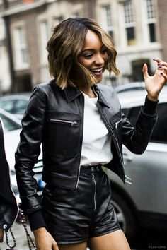 leather weather. #JourdanDunn looking ah-mazing in London. #offduty