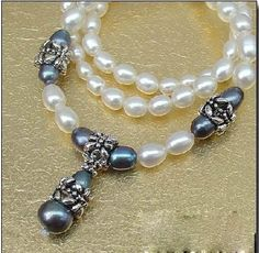 """18.5""""  6-7mm black white pearl necklace with pendant"""