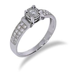 Designed diamond ring, made of 14K white goldWe can make this ring in any size or gold color on your requestPlease keep in mind, that customization might take up to 7 business days. This ring will be sent in an elegant gift box