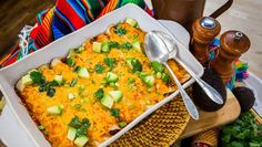 These Loaded Enchiladas are a wonderful potluck treat to add to your Hallmark Movie Watch Party buffet. They pair perfectly with our all-new Spring Fever original movies! Home & Family airs weekdays with daily new recipes on Hallmark Channel! Mexican Dishes, Mexican Food Recipes, New Recipes, Dinner Recipes, Cooking Recipes, Favorite Recipes, Ethnic Recipes, Family Recipes, Mexican Cooking