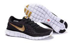 Mens Nike Free Runs Black Gold Shoes [Tiffany Free Runs 356]-$53.88