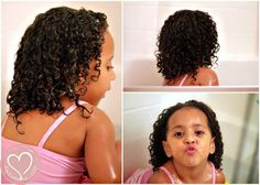 Mixed Hair Care: Tips for Toddler's Ringlet Curls - This focuses on once a week shampoo and deep condition. Plus combing through tangles in the tub with conditioner in hair. Makes total sense!!