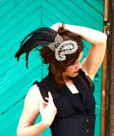Jeweled Feather Fascinator Headpiece Black, White, Gold Dalmatian - CRUELLA