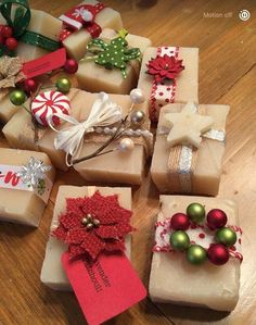 One of a kind handcrafted soaps! Each individually created and adorned. Custom orders available. by SittinPrettySoap on Etsy Christmas Present Wrap, Christmas Gift Wrapping, Christmas Presents, Christmas Time, Holiday Gifts, Christmas Crafts, Christmas Decorations, Handmade Christmas, Present Wrapping