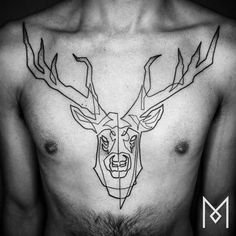 Continuous line reindeer tattoo on the chest. By Mo Ganji. Black Line Tattoo, One Line Tattoo, Single Line Tattoo, Single Line Drawing, Stag Tattoo Design, Deer Tattoo, Tattoo Designs, Tattoo Small, Line Drawing Tattoos