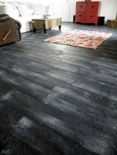 How to Paint Concrete Floors to look like Hardwood-Brilliant!!! Love the look, and never would have thought of this!