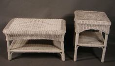 Vintage Wicker Coffee Table And Stand.