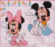 Baby mickey and minnie Cross Stitch Cross Stitch For Kids, Cross Stitch Borders, Cross Stitch Baby, Cross Stitch Charts, Cross Stitch Designs, Cross Stitching, Cross Stitch Embroidery, Embroidery Patterns, Cross Stitch Patterns