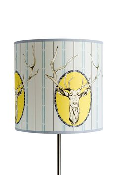 Stag Light Shade, Large Drum 30.5cm D x 30cm H #stag #scotland #drawing #blockprints Rachel Reynolds, Interior Wallpaper, Light Shades, Drums, Scotland, How To Draw Hands, Colour, Drawings, Prints