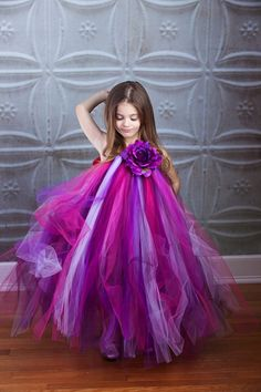 Purple Love Flower Girl Tutu Dress by TheLittlePeaBoutique on Etsy, $81.00