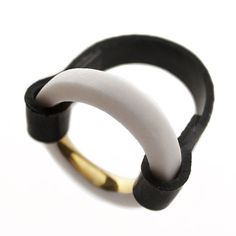 My new porcelain, gold and rubber collection! Porcelain ring by Anna Kiryakova.