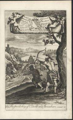 Friendship of David and Jonathan c.1700 Blome original antique Religious print