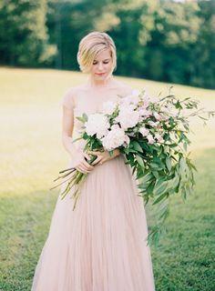 A Blush Wedding Dress & Wild Foliage Bouquet Big Wedding Dresses, Tulle Wedding, Wedding Bells, Floral Wedding, Wedding Bouquets, Garden Wedding Inspiration, Bridal Flowers, Bridesmaid Bouquet, Wedding Styles