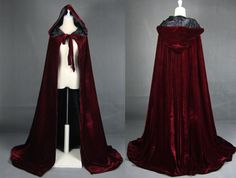 Wine black Velvet Hooded Cloak Medieval Cape Witchcraft Wicca Robe Larp Gothic  #eqjy #CoatsCloaks