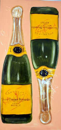 It would be cute to do something like this with my wedding champagne - painting by sarah ashley longshore
