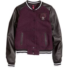 H&M Baseball jacket (24.010 CLP) ❤ liked on Polyvore featuring outerwear, jackets, h&m, tops, burgundy, burgundy jacket, stand up collar jacket, faux leather sleeve jacket, snap jacket and h&m jackets