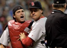 Matheny arguing with the umpire after being ejected from game