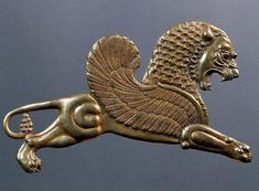 Winged lion in goldwork from ancient Persia by claudette Perse Antique, Persian Tattoo, Cyrus The Great, Sphinx, Achaemenid, Ancient Persian, Art Antique, Persian Culture, Iranian Art