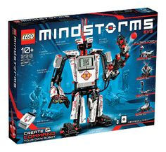 """LEGO Mindstorms EV3 (31313) - The Scholastic Store $369.99 Create & command robots that walk, talk, think and do anything you can imagine 3D building instructions to create TRACK3R, R3PTAR, SPIK3R, EV3RSTORM and GRIPP3R Use remote control & take on  ready-made missions or download free app LEGO.com/mindstorms to access content & interact with online community Remote control, color & touch & infrared sensors icon-based interface for PC & Mac 550+ LEGO Technic elements  Measures over 16""""H 7""""L…"""